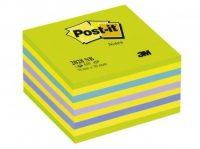 3M Post-it 2028-NB Neon jegyzetkocka - neon kék / zöld színben - 1 tömb / csomag (3M 2028-NB)