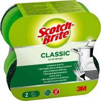 3M Scotch-Brite piskóta alakú kézkímélő mosogatószivacs hagyományos dörzsfelülettel - kiszerelés: 2 darab / csomag (3M CEE19)