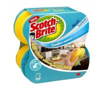 3M Scotch-Brite piskóta alakú kézkímélő mosogatószivacs nem karcoló dörzsfelülettel - kiszerelés: 2 darab / csomag (3M CEE20)
