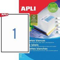 APLI öntapadó etikett címke Ref. 01215 - 210 x 297 mm 1 pályás univerzális öntapadó etikett címke (Ref. 01215, LCA10819)