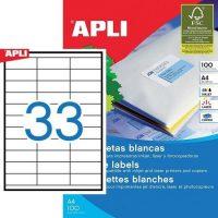 APLI öntapadó etikett címke Ref. 01270 - 70 x 25,4 mm 3 pályás univerzális öntapadó etikett címke (Ref. 01270, LCA3132)