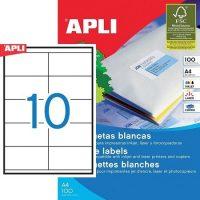 APLI öntapadó etikett címke Ref. 01278 - 105 x 57 mm 2 pályás univerzális öntapadó etikett címke (Ref. 01278, LCA1278)
