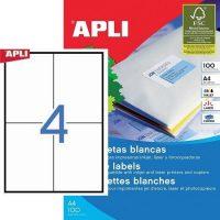 APLI öntapadó etikett címke Ref. 01280 - 105 x 148 mm 2 pályás univerzális öntapadó etikett címke (Ref. 01280, LCA1280)
