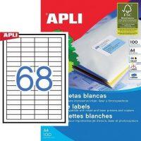 APLI öntapadó etikett címke Ref. 01282 - 48,5 x 16,9 mm 4 pályás univerzális öntapadó etikett címke (Ref. 01282, LCA3128)