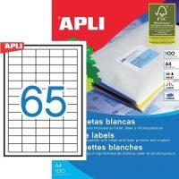 APLI öntapadó etikett címke Ref. 01283 - 38,1 x 21,2 mm 5 pályás univerzális öntapadó etikett címke (Ref. 01283, LCA3127)