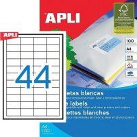 APLI öntapadó etikett címke Ref. 01285 - 48,5 x 25,4 mm 4 pályás univerzális öntapadó etikett címke (Ref. 01285, LCA3129)