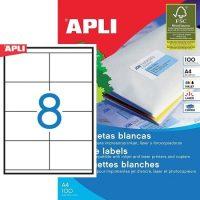 APLI öntapadó etikett címke Ref. 01292 - 105 x 70 mm 2 pályás univerzális öntapadó etikett címke (Ref. 01292, LCA1292)
