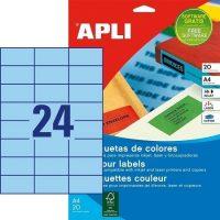 APLI öntapadó etikett címke Ref. 01592 - 70 x 37 mm 3 pályás univerzális kék öntapadó etikett címke (Ref. 01592, LCA1592)