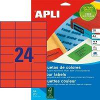 APLI öntapadó etikett címke Ref. 01593 - 70 x 37 mm 3 pályás univerzális piros öntapadó etikett címke (Ref. 01593, LCA1593)