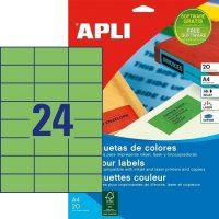 APLI öntapadó etikett címke Ref. 01594 - 70 x 37 mm 3 pályás univerzális zöld öntapadó etikett címke (Ref. 01594, LCA1594)