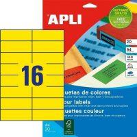APLI öntapadó etikett címke Ref. 01595 - 105 x 37 mm 2 pályás univerzális sárga öntapadó etikett címke (Ref. 01595, LCA1595)