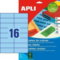 APLI öntapadó etikett címke Ref. 01596 - 105 x 37 mm 2 pályás univerzális kék öntapadó etikett címke (Ref. 01596, LCA1596)