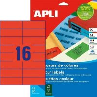 APLI öntapadó etikett címke Ref. 01597 - 105 x 37 mm 2 pályás univerzális piros öntapadó etikett címke (Ref. 01597, LCA1597)