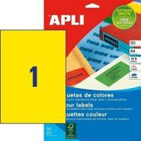 APLI öntapadó etikett címke Ref. 01599 - 210 x 297 mm 1 pályás univerzális sárga öntapadó etikett címke (Ref. 01599, LCA1599)