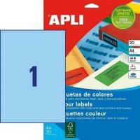 APLI öntapadó etikett címke Ref. 01600 - 210 x 297 mm 1 pályás univerzális kék öntapadó etikett címke (Ref. 01600, LCA1600)