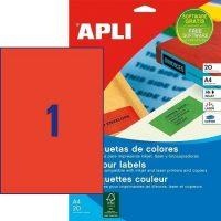 APLI öntapadó etikett címke Ref. 01601 - 210 x 297 mm 1 pályás univerzális piros öntapadó etikett címke (Ref. 01601, LCA1601)
