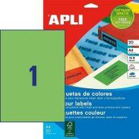 APLI öntapadó etikett címke Ref. 01602 - 210 x 297 mm 1 pályás univerzális zöld öntapadó etikett címke (Ref. 01602, LCA1602)