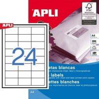 APLI öntapadó etikett címke Ref. 01781 - 64,6 x 33,8 mm 3 pályás univerzális öntapadó etikett címke (Ref. 01781, LCA1781)