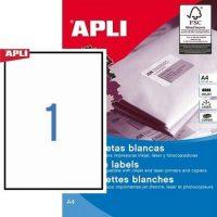 APLI öntapadó etikett címke Ref. 01788 - 210 x 297 mm 1 pályás univerzális öntapadó etikett címke (Ref. 01788, LCA1788)