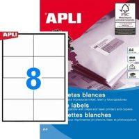 APLI öntapadó etikett címke Ref. 01796 - 105 x 74 mm 2 pályás univerzális öntapadó etikett címke (Ref. 01796, LCA1796)