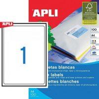 APLI öntapadó etikett címke Ref. 02412 - 199,6 x 289,1 mm 1 pályás univerzális öntapadó etikett címke (Ref. 02412, LCA2412)