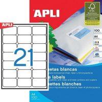 APLI öntapadó etikett címke Ref. 02414 - 63,5 x 38,1 mm 3 pályás univerzális öntapadó etikett címke (Ref. 02414, LCA2414)