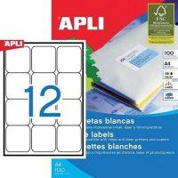 APLI öntapadó etikett címke Ref. 02416 - 63,5 x 72 mm 3 pályás univerzális öntapadó etikett címke (Ref. 02416, LCA2416)