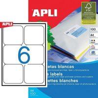 APLI öntapadó etikett címke Ref. 02421 - 99,1 x 93,1 mm 2 pályás univerzális öntapadó etikett címke (Ref. 02421, LCA2421)