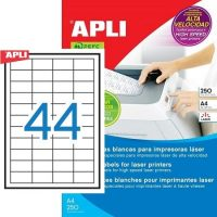 APLI öntapadó etikett címke Ref. 02516 - 48,5 x 25,4 mm 4 pályás öntapadó etikett címke nagysebességű lézernyomtatókhoz (Ref. 02516, LCA2516)