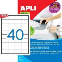 APLI öntapadó etikett címke Ref. 02518 - 52,5 x 29,7 mm 4 pályás öntapadó etikett címke nagysebességű lézernyomtatókhoz (Ref. 02518, LCA2518)
