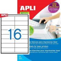 APLI öntapadó etikett címke Ref. 02524 - 105 x 35 mm 2 pályás öntapadó etikett címke nagysebességű lézernyomtatókhoz (Ref. 02524, LCA2524)