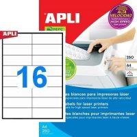 APLI öntapadó etikett címke Ref. 02525 - 105 x 37 mm 2 pályás öntapadó etikett címke nagysebességű lézernyomtatókhoz (Ref. 02525, LCA2525)