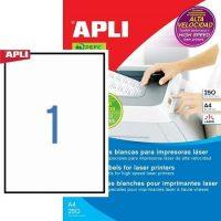 APLI öntapadó etikett címke Ref. 02530 - 210 x 297 mm 1 pályás öntapadó etikett címke nagysebességű lézernyomtatókhoz (Ref. 02530, LCA2530)