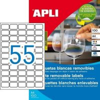 APLI öntapadó etikett címke Ref. 03051 - 36,8 x 23,8 mm 5 pályás univerzális visszaszedhető öntapadó etikett címke (Ref. 03051, LCA03051)