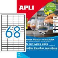 APLI öntapadó etikett címke Ref. 03053 - 48,5 x 16,9 mm 4 pályás univerzális visszaszedhető öntapadó etikett címke (Ref. 03053, LCA03053)