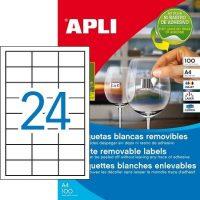 APLI öntapadó etikett címke Ref. 03056 - 64,6 x 33,8 mm 3 pályás univerzális visszaszedhető öntapadó etikett címke (Ref. 03056, LCA03056)