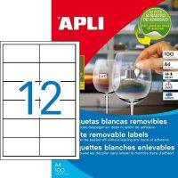 APLI öntapadó etikett címke Ref. 03057 - 97 x 42,4 mm 2 pályás univerzális visszaszedhető öntapadó etikett címke (Ref. 03057, LCA03057)