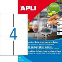 APLI öntapadó etikett címke Ref. 03058 - 105 x 148 mm 2 pályás univerzális visszaszedhető öntapadó etikett címke (Ref. 03058, LCA03058)