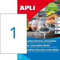 APLI öntapadó etikett címke Ref. 03060 - 210 x 297 mm 1 pályás univerzális visszaszedhető öntapadó etikett címke (Ref. 03060, LCA03060)