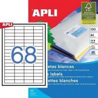 APLI öntapadó etikett címke Ref. 03128 - 48,5 x 16,9 mm 4 pályás univerzális öntapadó etikett címke (Ref. 03128, LCA3128)