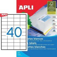 APLI öntapadó etikett címke Ref. 03130 - 52,5 x 29,7 mm 4 pályás univerzális öntapadó etikett címke (Ref. 03130, LCA3130)