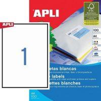 APLI öntapadó etikett címke Ref. 03141 - 210 x 297 mm 1 pályás univerzális öntapadó etikett címke (Ref. 03141, LCA3141)