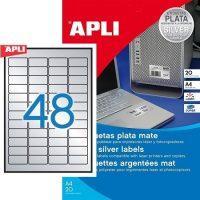 APLI No. 10066 lézeres 45,7 x 21,2 mm méretű, ezüst ipari öntapadó etikett címke, tartós ragasztóval A4-es íven - 960 címke / csomag - 20 ív / csomag (LCA10066)