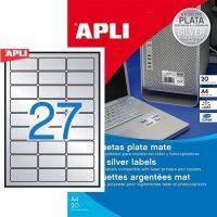 APLI No. 10070 lézeres 63,5 x 29,6 mm méretű, ezüst ipari öntapadó etikett címke, tartós ragasztóval A4-es íven - 540 címke / csomag - 20 ív / csomag (LCA10070)