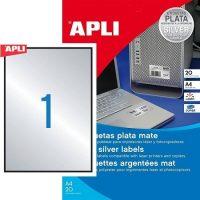 APLI No. 10071 lézeres 210 x 297 mm méretű, ezüst ipari öntapadó etikett címke, tartós ragasztóval A4-es íven - 20 címke / csomag - 20 ív / csomag (LCA10071)