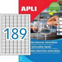 APLI öntapadó etikett címke Ref. 10198 - 25,4 x 10 mm 7 pályás univerzális visszaszedhető öntapadó etikett címke (Ref. 10198, LCA10198)
