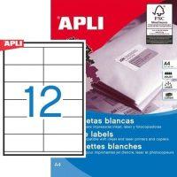 APLI öntapadó etikett címke Ref. 10563 - 105 x 48 mm 2 pályás univerzális öntapadó etikett címke (Ref. 10563, LCA10563)