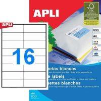 APLI öntapadó etikett címke Ref. 10817 - 105 x 37 mm 2 pályás univerzális öntapadó etikett címke (Ref. 10817, LCA10817)
