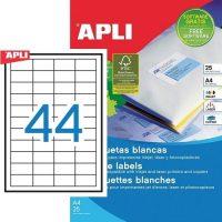 APLI öntapadó etikett címke Ref. 10825 - 48,5 x 25,4 mm 4 pályás univerzális öntapadó etikett címke (Ref. 10825, LCA10825)