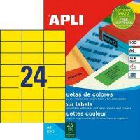APLI öntapadó etikett címke Ref. 11834 - 70 x 37 mm 3 pályás univerzális sárga öntapadó etikett címke (Ref. 11834, LCA11834)